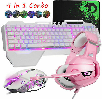 AU85.49 • Buy 4in1 RGB Gaming Keyboard Mouse Headset Combo For PS4 PC RGB LED Backlit Wired AU