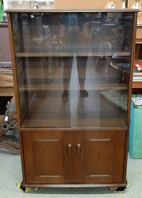 £98 • Buy Mid Century Priory Sliding Glass Fronted Bookcase Cupboard On Castors
