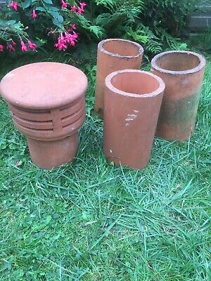 Clay Chimney Cowl And 3 Clay Pipes Maybe Use As Garden Feature Or Pots. • 18£