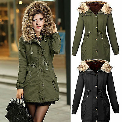 Womens Winter Coat Quilted Puffer Fur Collar Hooded Jacket Parka Outwear Fashion • 24.12£