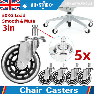 AU31.99 • Buy 5Pcs Office Chair Caster Roller Wheels Universal Mute Wheel 75mm Round Casters