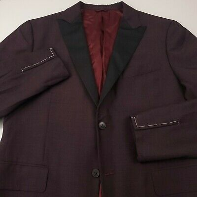 $ CDN253.19 • Buy $1450 Eidos By Isaia Mens Size 54R Peak Tuxedo Evening Blazer Jacket Maroon Wine
