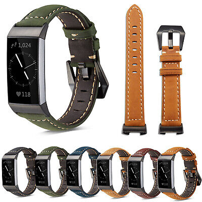 AU16.99 • Buy Replacement Wrist Retro Genuine Leather For Fitbit Charge 3 4 Watch Band Strap