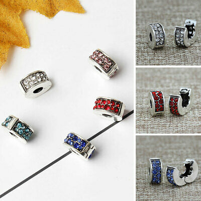 Newest Crystal Bead Charm Bead Clip Stopper For European Bracelet DIY Jewelry • 3.43£