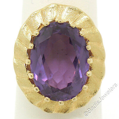 AU661.35 • Buy Vintage 14k Yellow Gold Large Oval Alexandrite Solitaire Textured Halo Ring