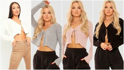 Womens Ladies Sexy Ribbed Knitted Tie Front Long Sleeve Crop Cardigan Jumper Top • 9.99£