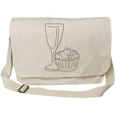 'Wine Glass & Cupcake' Cotton Canvas Messenger Bags (MS023226) • 14.99£