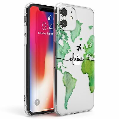 Personalised Watercolour World Map Green Slim TPU Case For IPhone Wanderlust • 7.95£