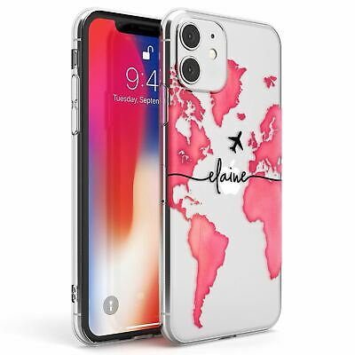 Personalised Watercolour World Map Dark Pink Slim TPU Case For IPhone • 7.95£