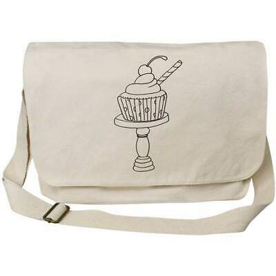 'Cupcake With Straw' Cotton Canvas Messenger Bags (MS022460) • 14.99£