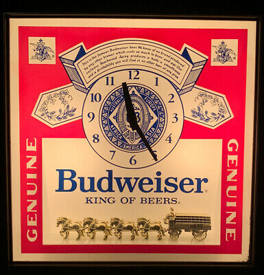 $ CDN131.81 • Buy Budweiser Vintage 1986 Pull-Chain Lighted Wall Clock Beer Sign Clydesdales Works