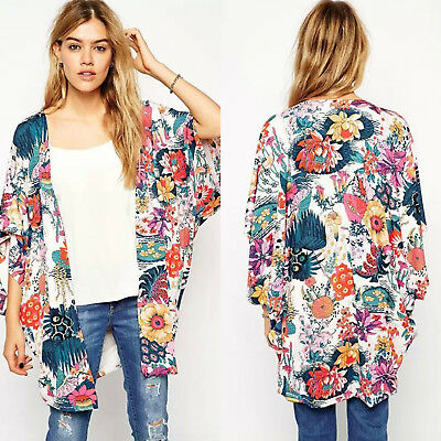 AU23.46 • Buy Women Beach Floral Kimono Cardigan Coat Ladies Loose Beach Summer Cover Up Tops