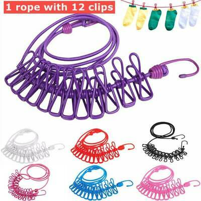 12× Colorful Spring Clip Cloth Washing Line Dryer Clothes Travel Camp Rope UK • 5.99£