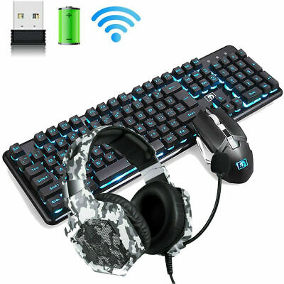AU95.82 • Buy 2.4G Wireless Gaming Keyboard And Mouse 4800mAh Rechargeable Backlit +Headset AU
