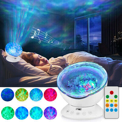 Relaxing Ocean Wave Music LED Night Light Projector Remote Lamp Baby Sleep Gift • 11.99£