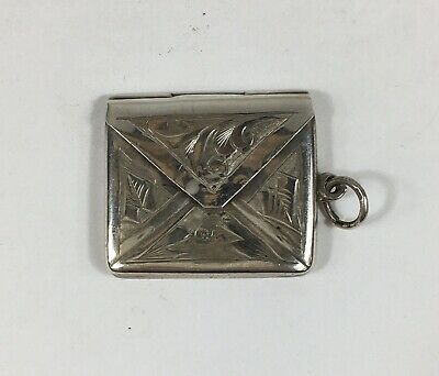 Antique Solid Silver Envelope Shaped Stamp Case / Box 2.5cm In Width 3.6g  • 69£