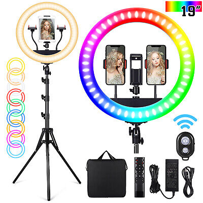 LED Ring Light Studio Photo Video Dimmable Lamp Tripod Stand Selfie Camera Phone • 17.59£
