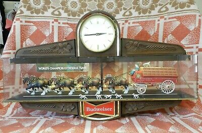 $ CDN764.54 • Buy Vintage Budweiser Beer Sign World Champion Clydesdale Lighted Clock 2-Sided 35