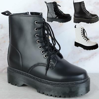 £19.99 • Buy Womens Ladies Retro Army Punk Goth Chunky Platform Zip Lace Up Combat Army Boots