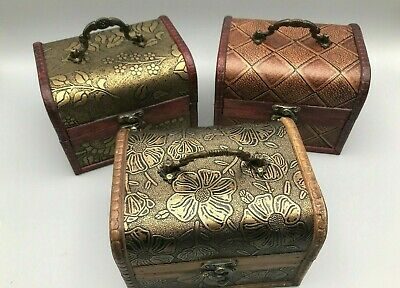 Rustic Wooden Boxes Colonial Style Trunk Treasure Chest Vintage Storage Hinged • 9.99£