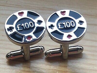 Novelty Poker Chip Casino Cufflinks..new...men / Women Christmas Gift Free Pouch • 3.99£