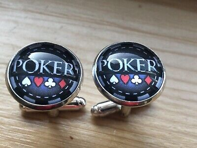 Novelty Poker Chip Casino Cufflinks..new..men / Womens Gift Free Pouch • 3.45£