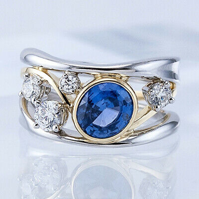 AU2.95 • Buy Gorgeous Two Tone 925 Silver Rings For Women Blue Sapphire Ring Size 6-10