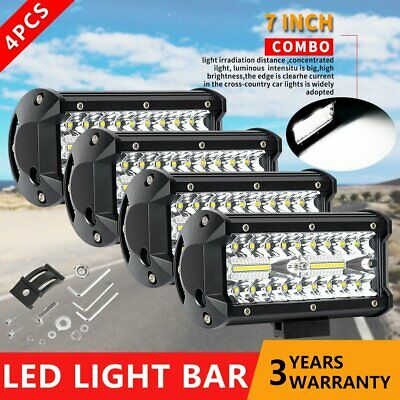 AU59.95 • Buy 4X 7inch Cree LED Light Bar Spot/Flood Combo Work Driving Offroad SUV 4WD 6''