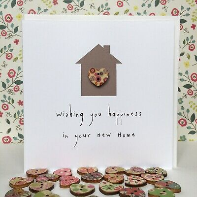 Handmade Cute New Home Card Decorated With A Little Wooden Heart. 5  Square • 2.35£