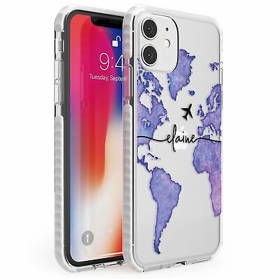Personalised Watercolour World Map Purple Impact Case For IPhone Wanderlust • 10.95£