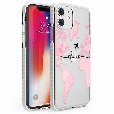 Personalised Watercolour World Map Light Pink Impact Case For IPhone Wanderlust • 12.95£