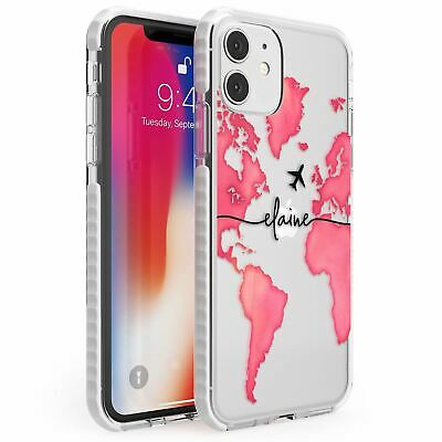 Personalised Watercolour World Map Dark Pink Impact Case For IPhone Wanderlust • 10.95£
