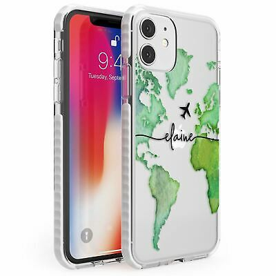 Personalised Watercolour World Map Green Impact Case For IPhone Wanderlust • 10.95£