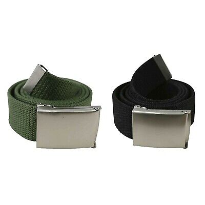 £5.90 • Buy Army Belt Canvas Webbing Silver Buckle Combat Military Trouser Tactical Green