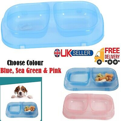Pet Feeding Double Bowls Plastic Food Water Drinking Feeder For Dog Cat Puppy UK • 3.95£