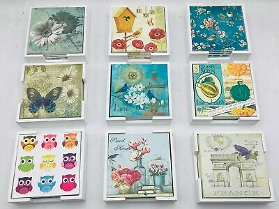 £5.99 • Buy UK Shop - Set Of 6 MDF  Table Coasters With Holder Multi Designs Available