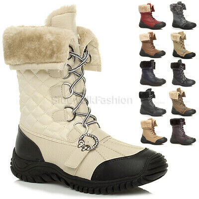Womens Ladies Low Heel Fashion Flat Snow Winter Fur Lace Up Calf Boots Size • 9.99£