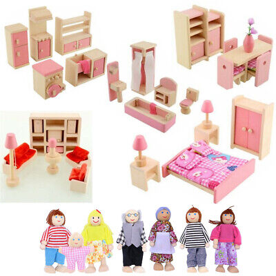 Wooden Furniture Doll House Miniature Room Sets People Doll Toys For Kids Gifts • 8.29£