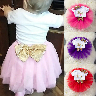 AU20.61 • Buy Baby Girls 1st First Birthday Dress Romper Tutu Skirt Headband Outfit Kid Infant