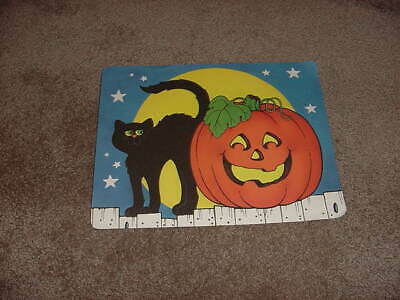 $ CDN21.13 • Buy VINTAGE HALLMARK HALLOWEEN WALL DECORATION 1980s BLACK CAT & PUMPKIN LOT OF 2