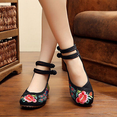 £9.99 • Buy Hot Women Janes Chinese Embroidered Flower Ankle Strap Loafers Beef Bottom Shoes