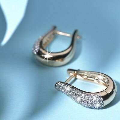 AU17.99 • Buy 18k Yellow White Gold Gf Made With SWAROVSKI Crystal Huggies Statement Earrings