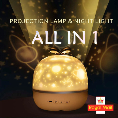 LED Night Star Starry Sky Projector Light Lamp 360° Rotating Baby Kids Room Gift • 16.99£