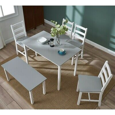 Solid Wooden Dining Table And 4 Chairs Bench Set Home Kitchen Room Furniture • 149.99£