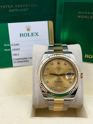 $ CDN17406.44 • Buy Rolex 126333 Datejust 41 Diamond Dial 18K Stainless Steel Box Papers 2019