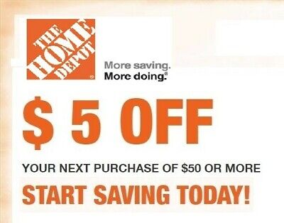 $1.29 • Buy 1X Home Depot $5 Off $50 Or More 1Coupon Valid Online Only