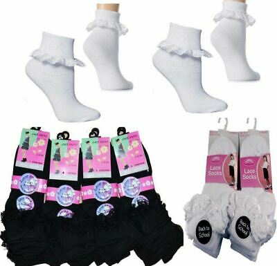 3 And 6 Pairs Girls Cotton School Socks For Kids, Frilly Lace Ankle • 5.49£