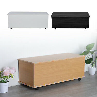 Ottoman Toy Box Chest Wooden Storage Blanket Lid White Black Or Beech UK • 42.59£