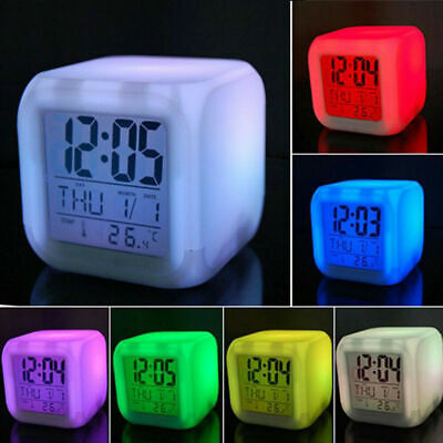 AU17.19 • Buy Mini Cube Digital LED Display Alarm Clock Multi Color Night Light For Kids Gifts