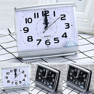 AU14.05 • Buy Bedside Desk Snooze Wake Up Analogue Clock Sweep Silent Small Quartz Alarm Clock